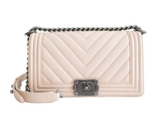 chanel light beige caviar leather old medium chevron boy bag