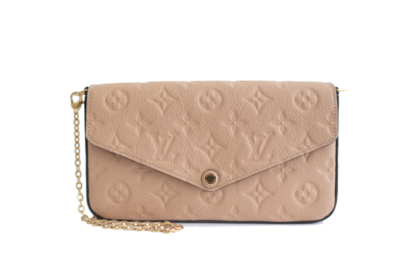 Rent louis vuitton papyrus empreinte leather pochette felicie